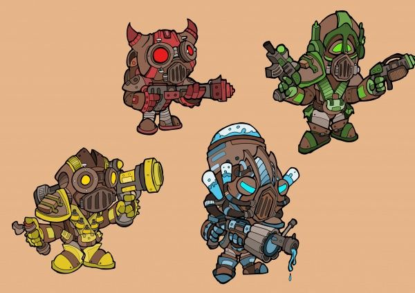 Four playable character designs for a working project, Steam Pipe Mutiny
